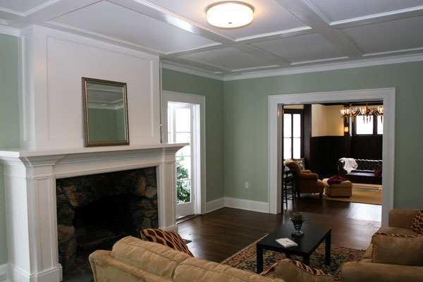attic addition ideas - Victorian Custom Work with Coffered Ceiling and Fireplace