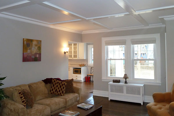 Central Hall Colonial Living Room Renovation With Coffered