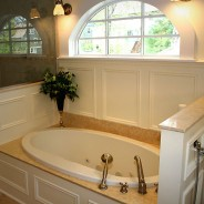 Custom Master colonial Bathroom with Heated Floors and Jacuzzi Tub