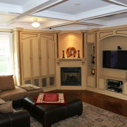 Colonial Custom Cabinet, Fireplace Mantel and Coffered Ceiling
