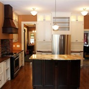 Transitional Kitchen with Marble Top Island