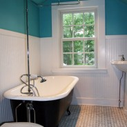 Bathroom with Clawfoot Tub and Glass Tile