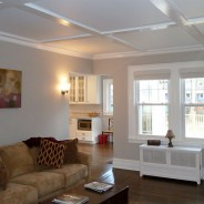 Central Hall Colonial Living Room Renovation with Coffered Ceiling