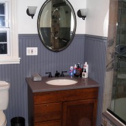 Guest Bathroom with Stone Tiles