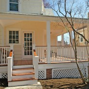 Open Back Porch with Mahogany Flooring