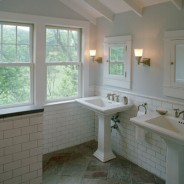 The Perfect Bathroom with Frameless Shower, Mosaic Tiles and Pedestal Sink