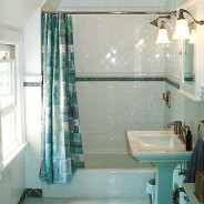 Custom Bathroom with Mable Floor and Pedestal Sink